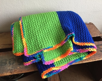 Green Blue Blanket Crochet Knit Vintage Striped Baby Small Orange Yellow Pink Edge