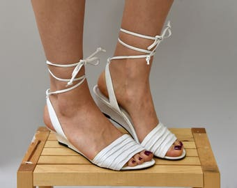 1980's white Calico wedge sandals with ankle ties • size 7.5