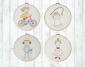 Hand embroidery pattern - bicycle embroidery - kids embroidery - summer embroidery - PDF - Instant download