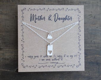 READY TO SHIP . Mother Daughter Necklace Set  .  i carry your heart  .  Graduation GiFT mother daughter set  .  mother of the bride gift