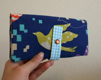 Flying Bird - Long Wallet Clutch - Card Slots, Zipper, Cash