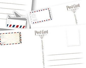 Set of AirMAIL Postcard ID and DATE stickers, Postcard stickers for Postcrossers. Set of 30