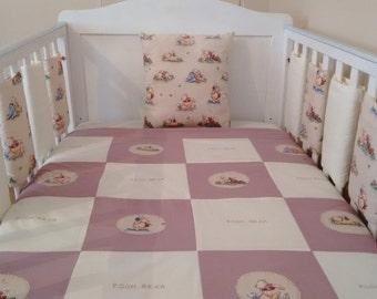 Winnie the pooh crib bedding set bumper quilt cushion