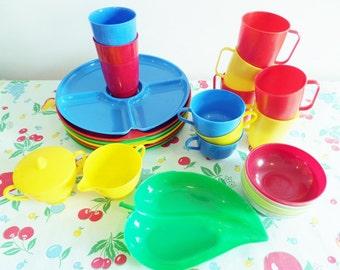 Retro Plastic Lustro Ware Camping and Picnic Dishes - Primary Colors - Plates, Cups, Glasses, Sugar, Creamer 1950s - Mid Century Gotham Ware