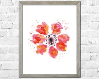 Flower Painting Print, Flower Watercolor painting, Watercolor print, Abstract flower, Flower art, Red flowers, Floral print, Watercolor art
