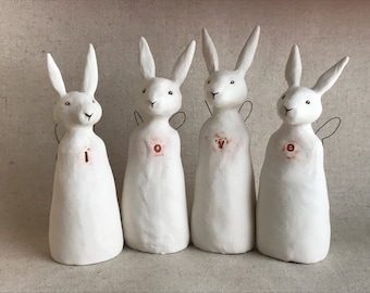 love sculpture - four rabbit set - white ceramic