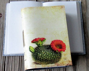 vintage cactus flower journal, diary notebook planner, cactus succulent gratitude journal - gift giving for under 30