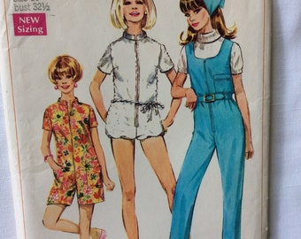 Simplicity 7648 misses jumpsuit and scarf size 10 bust 32 1/2 vintage 1960's sewing pattern   Uncut  Factory Folds