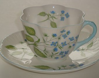 Shelley AMERICAN BROOKLIME Dainty Shape Cup & Saucer - Rare #14060