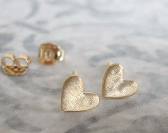 14k Solid gold heart stud earrings , Small everyday post earrings , Handmade by Adi Yesod