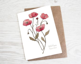 Wild Poppy, A6 Botanical Wildflower Greeting Card