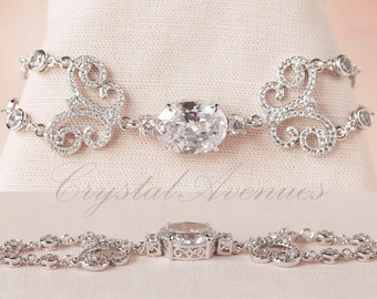 Statement Bridal Bracelet,  Gold Wedding bracelet, Crystal wedding Swarovski crystal, Delicate, Wedding, Bridesmaids, Carly Bracelet
