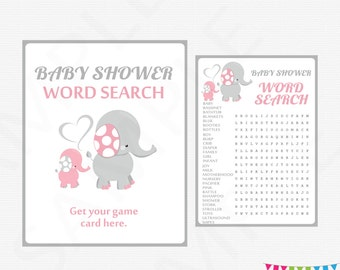 Pink Gray Elephant Baby Shower Games, Pink Elephant Baby Shower, Word Search Game + Sign, Girl Baby Shower, Printable Baby Shower EL0005-lp