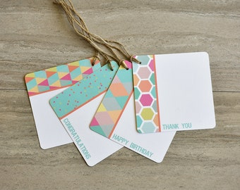 Vibrant Geometric Gift Tags | Set of 20 + Twine | READY TO SHIP | Hang Tag | Swing Tag | Favor Tag | Wine Tag | Party Gift Tag | Gift Wrap