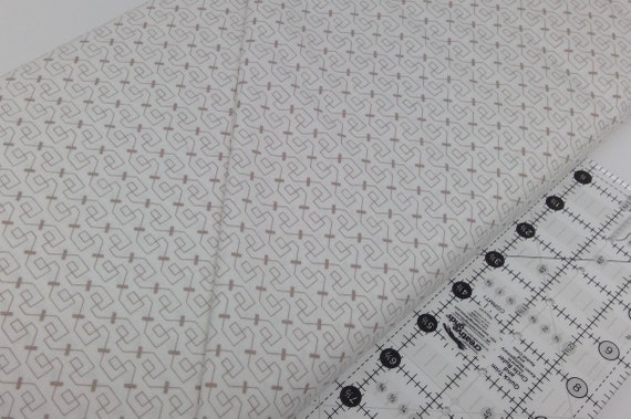 Geometric Neutral With Taupe Designs On White Background Clean Living by Barbara Jones of Quilt Soup, Quilt Fabric By The Yard 6690 40