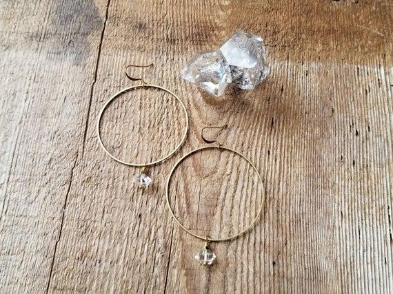 Brass hoops with herkimer diamonds