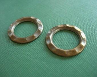 vintaj brass open gear, 23mm, 2 pieces vintaj open gear, vintaj connector