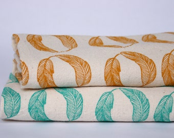 Flour Sack Towel, Hand Printed, Feathers, Cotton