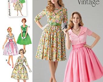 Simplicity Pattern 1459 Misses' & Miss Petite 1950's Vintage Dress
