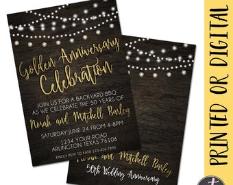 Golden Anniversary Invitation, 50th Anniversary Invitation, 50th Wedding Anniversary Invitation, Anniversary Party, 50 Year Wedding