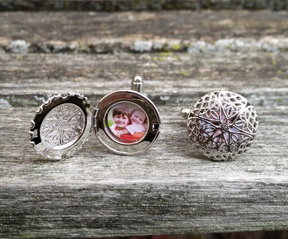 Custom Photo Cufflinks. Filigree Locket. Wedding, Men, Anniversary, Father's Day, Christmas Gift, Dad, Birthday. Custom Orders Welcome.