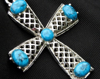 Cross Vintage Necklace Statement That 70's Show Turquoise Lucite Blue Marbled Native American High Relief Christian Religious Southwestern