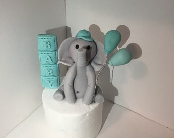 Baby elephant with balloons and baby blocks fondant cake topper