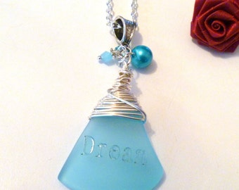 Wire Wrapped Blue Sea Glass Pendant Necklace with Etched Dream Saying