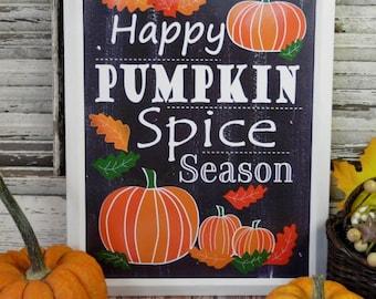 Happy Pumpkin Spice Season sign digital -  PDF black uprint words vintage style paper halloween fall