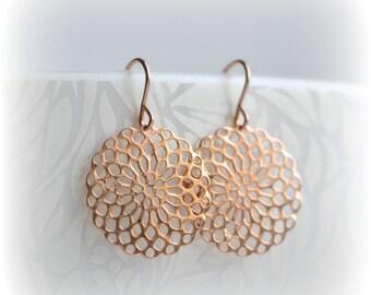 Rose Gold Earrings, Boho Filigree Earrings, Rose Gold Mandala Earrings, Rose Gold Dangle Earrings, Sister Boho Gift for Her Blissaria