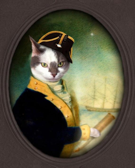 Cat Art Sea Captain Pirate Ship Nautical Tall Ship White &