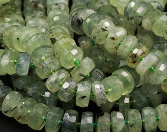 """A Grade Natural Prehnite Faceted Rondelle Beads Large Green Prehnite W Black Tourmaline Inclusion Faceted Wheel Disc Beads 16"""" Strand"""