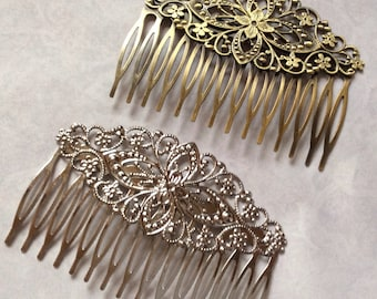 2 pcs mixed Hair Combs.Antique Bronze and Platinum Hair Comb,tray hair comb,filigree hair comb,brass hair com,hair accessories,comb