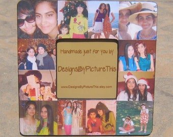 """Best Friends Collage Picture Frame, Unique Sister Gift, Personalized Maid of Honor Gift, Bridesmaid Gift, Custom Birthday Frame, 8"""" x 8"""""""