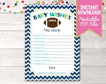 Printable Baby Wishes Card Boys Football Baby Shower Game Design Instant Download PDF