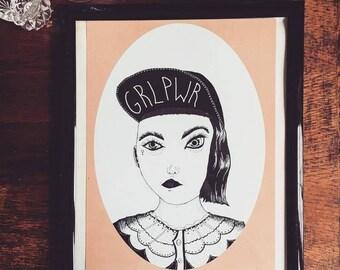 "Feminist art print ""Sisterhood-GRLPWR"""