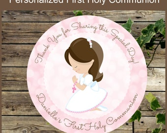 First Holy Communion Favor Tags, Printable Pink Communion Personalized Favor Tags, Religious Party Printable Tags, Primera Comunion Niña