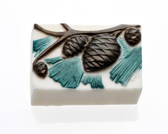 Pine cone and branch soap, pine soap, glycerin soap,