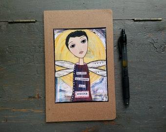 SALE! 5x8 unlined journal, thin notebook, kraft sketchbook, art journal, whimsical girl, Inspirational Art, She's a Survivor