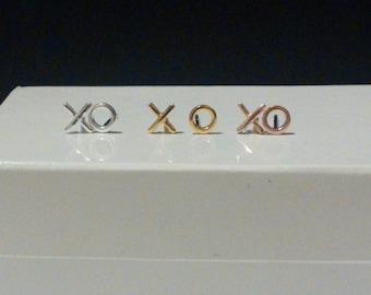 XO Studs. xo Earrings. Sterling Silver xo Studs. Rose Gold XO Studs. Gold XO Studs. Hugs and Kiss Earrings