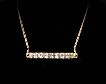Crystal bar necklace square cut channel set crystals gold plated setting