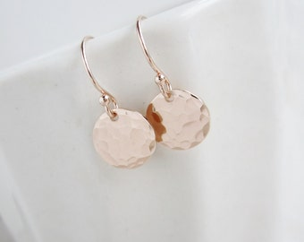 Tiny Dot Rose gold earrings, pink gold earrings, hammered rose gold discs, dainty earrings, everyday earrings, simple small dangle earrings