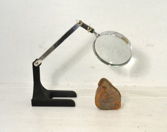 Adjustable Vintage TableTop Magnifing Glass // Heavy Vintage Magnifier by Swift & Anderson Inc of Boston, MA
