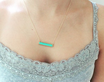 Turquoise Bar Necklace, Gold Bar Necklace, Gold Necklace, Dainty Gold Necklace Bar Necklace, Summer Jewelry, Birthday Gift Bridesmaid gift