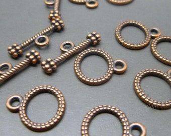 Copper Toggle Clasps - 12 sets - Ring and Bar Clasps - Antique Copper Copper Findings for necklaces or bracelets -C029