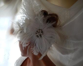 Bridal Fascinator - Bridal Headpiece - Wedding Fascinator - White Bridal Fascinator - Fascinator Hat