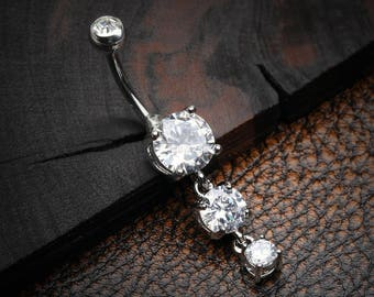 Classic Cascade Sparkle Gem Belly Button Ring