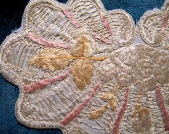 Antique Applique Doll Silk Trim Edwardian