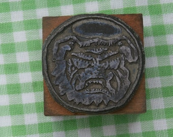 Vintage Bulldog Face Logo Printers Block Letterpress Metal on Wood Collectible Craft Supply Shadowbox Decor