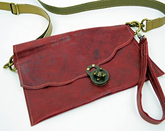 Red OOAK Leather Purse with Brown leather Strap and Wristlette Strap